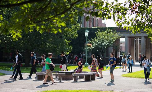 University of Rochester students walk across Eastman quad between classes October 1, 2013.